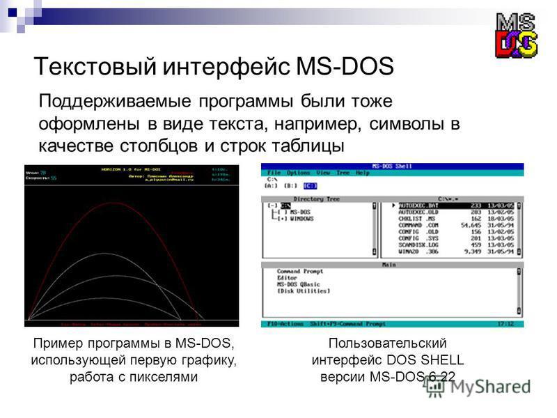 Текстовый интерфейс MS-DOS Поддерживаемые программы были тоже оформлены в виде текста, например, символы в качестве столбцов и строк таблицы Пользовательский интерфейс DOS SHELL версии MS-DOS 6.22 Пример программы в MS-DOS, использующей первую график