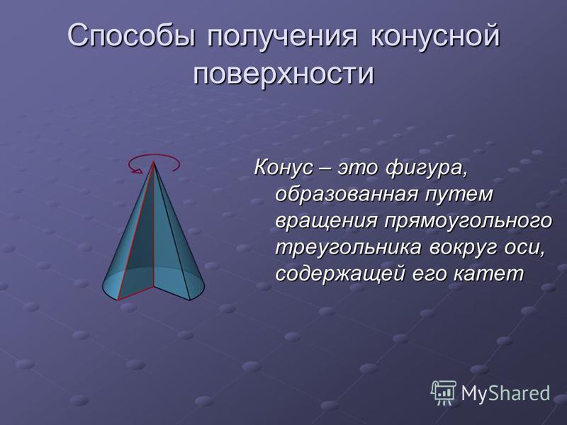 Способы получения конусной поверхности Конус – это фигура, образованная путем вращения прямоугольного треугольника вокруг оси, содержащей его катет