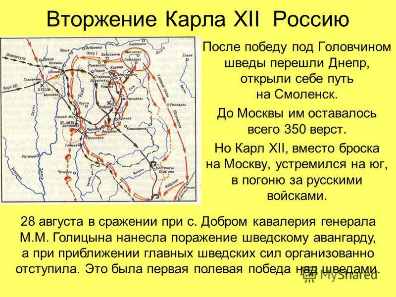 Вторжение Карла XII Россию После победу под Головчином шведы перешли Днепр, открыли себе путь на Смоленск. До Москвы им оставалось всего 350 верст. Но Карл XII, вместо броска на Москву, устремился на юг, в погоню за русскими войсками. 28 августа в ср