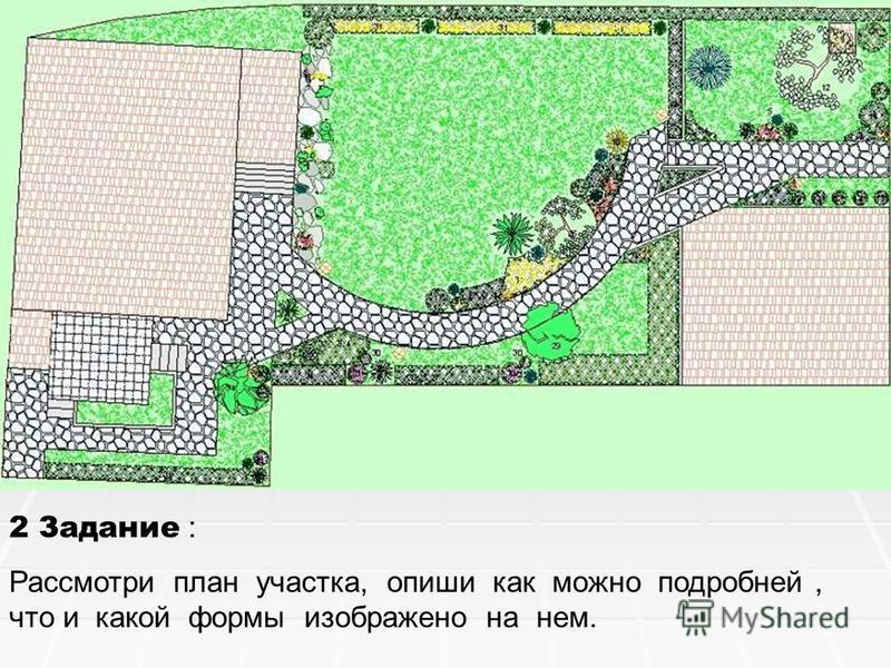 2 Задание : Рассмотри план участка, опиши как можно подробней, что и какой формы изображено на нем.