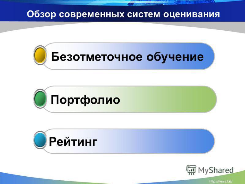 http://lysva.biz/ Обзор современных систем оценивания Рейтинг Портфолио Безотметочное обучение