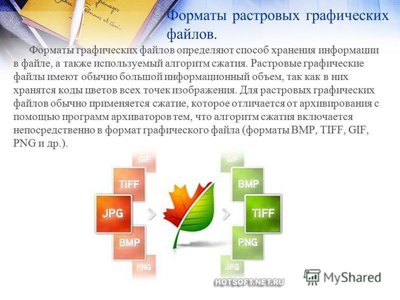 Форматы растровых графических файлов. Форматы графических файлов определяют способ хранения информации в файле, а также используемый алгоритм сжатия. Растровые графические файлы имеют обычно большой информационный объем, так как в них хранятся коды ц