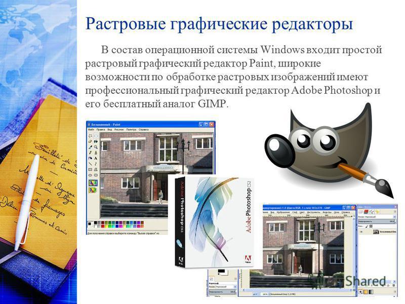 Растровые графические редакторы В состав операционной системы Windows входит простой растровый графический редактор Paint, широкие возможности по обработке растровых изображений имеют профессиональный графический редактор Adobe Photoshop и eгo беспла