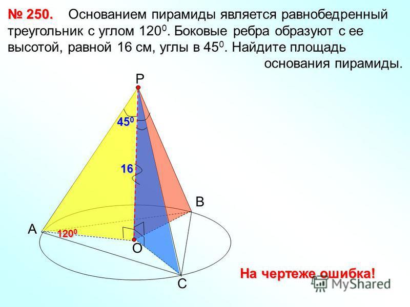 250. 250. Основанием пирамиды является равнобедренный треугольник с углом 120 0. Боковые ребра образуют с ее высотой, равной 16 см, углы в 45 0. Найдите площадь основания пирамиды. А В С Р О 120 0 45 0 16 На чертеже ошибка!