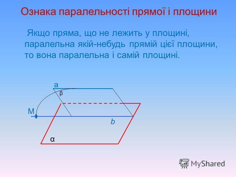 Взаємне розміщення прямої і площини у просторі Пряма і площина Мають більше однієї спільної точки – пряма лежить у площині Мають не менше ніж одну спільну точку Не мають спільних точок - паралельні Мають тільки одну спільну точку – пряма перетинає пл