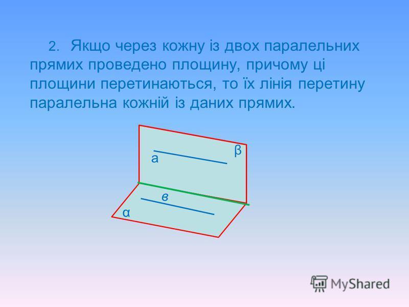 Властивості прямої, що паралельна площині 1.Якщо площина проходить через пряму, яка паралельна другій площині, і перетинає цю площину, то пряма перетину паралельна даній прямій. а β α в