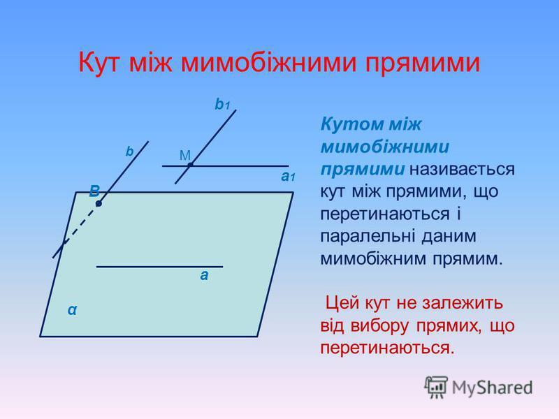 АВСDА 1 В 1 С 1 D 1 - куб. З ясуйте взаємне розміщення прямих: 1.СD і В 1 D ; 2.АВ і С 1 D 1 ; 3.АС і DD 1 ; 4.А 1 D і В 1 С ; 5.А 1 С і АС 1. В В1В1 А1А1 С1С1 СD А D1D1 Мимобіжні Перетинаються Паралельні