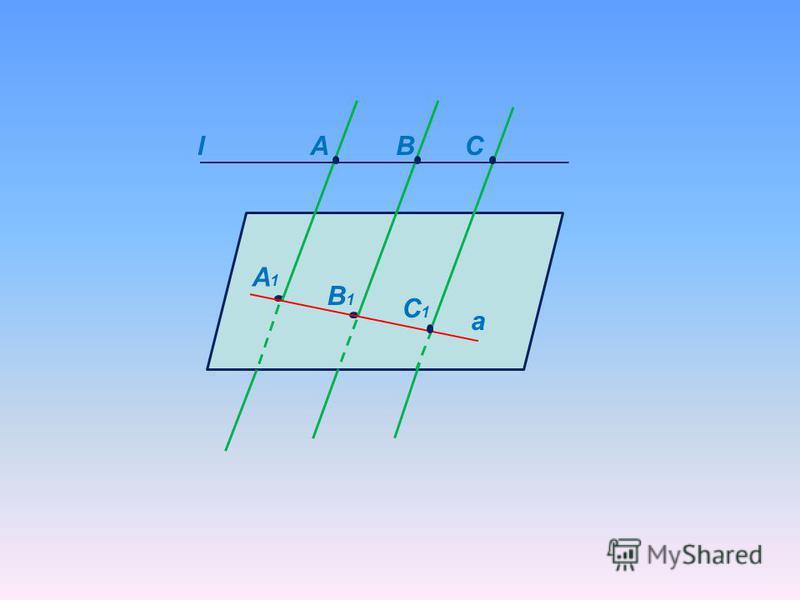Міркуємо разом АА 1 ВВ 1 СС 1. Чи належать ці прямі одній площині? Як треба змінити рисунок, якщо додати до умов задачі існування прямої l, яка перетинає всі задані прямі? A A1A1 В1В1 С1С1 СВ Ні