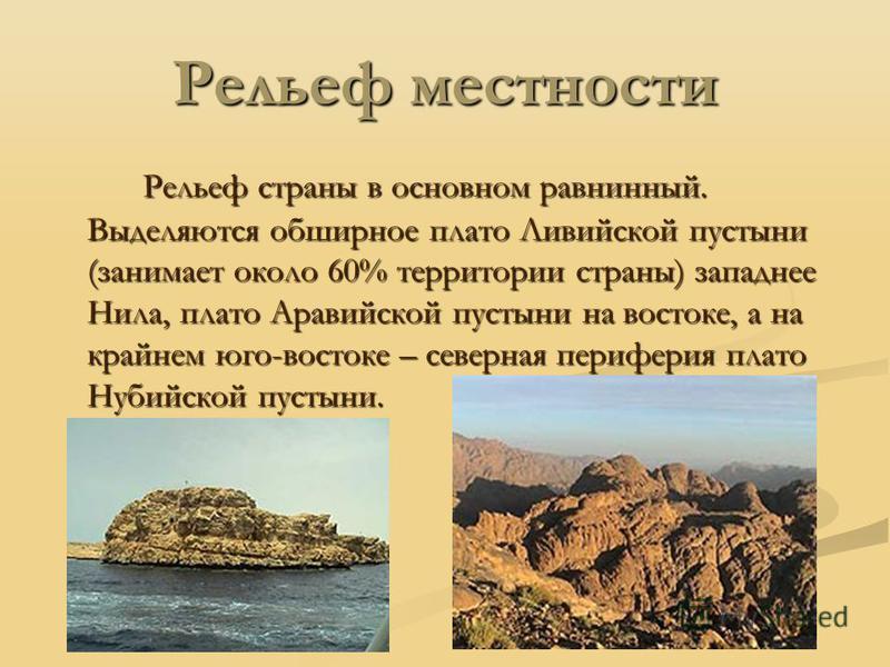 Рельеф местности Рельеф страны в основном равнинный. Выделяются обширное плато Ливийской пустыни (занимает около 60% территории страны) западнее Нила, плато Аравийской пустыни на востоке, а на крайнем юго-востоке – северная периферия плато Нубийской