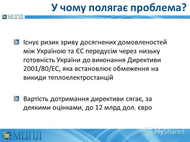 У чому полягає проблема? Існує ризик зриву досягнених домовленостей між Україною та ЄС передусім через низьку готовність України до виконання Директиви 2001/80/EC, яка встановлює обмеження на викиди теплоелектростанцій Вартість дотримання директиви с