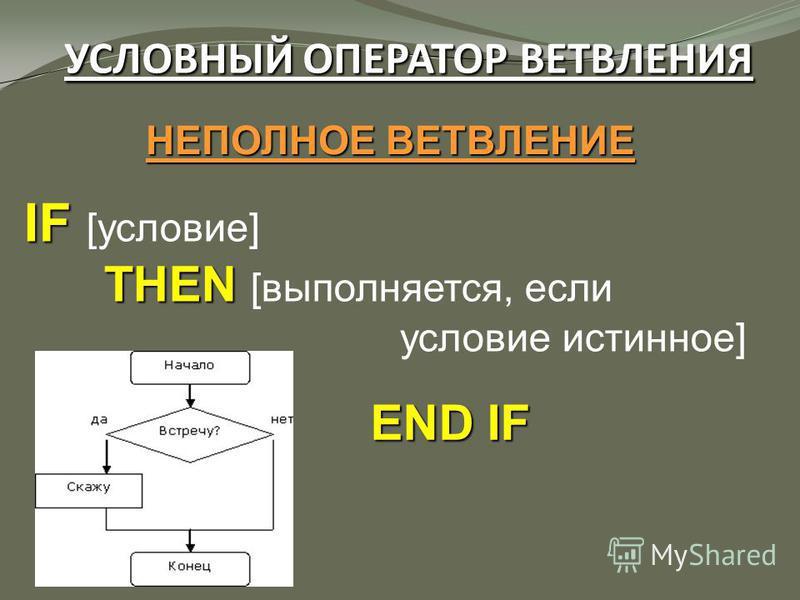 УСЛОВНЫЙ ОПЕРАТОР ВЕТВЛЕНИЯ НЕПОЛНОЕ ВЕТВЛЕНИЕ IF IF [условие] THEN THEN [выполняется, если условие истинное] END IF