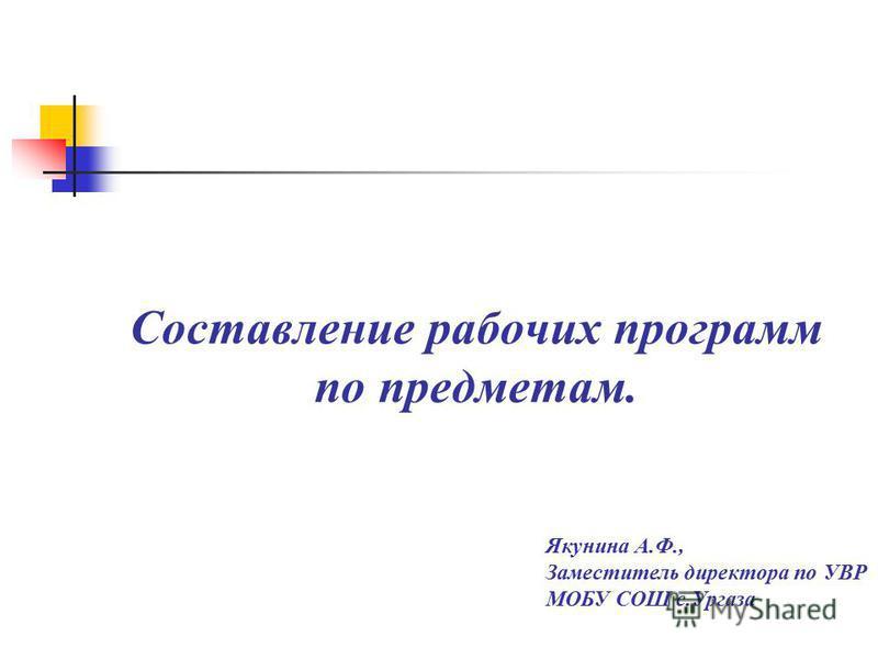 Составление рабочих программ по предметам. Якунина А.Ф., Заместитель директора по УВР МОБУ СОШ с.Ургаза