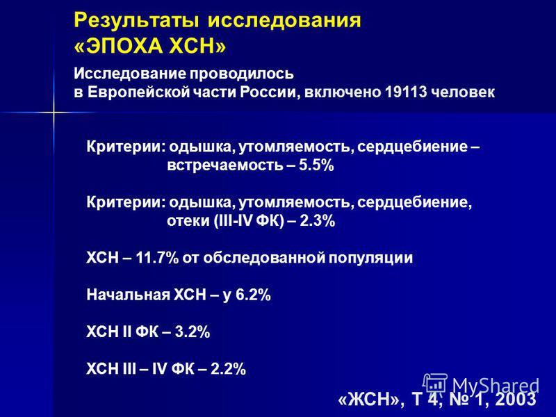 Критерии: одышка, утомляемость, сердцебиение – встречаемость – 5.5% Критерии: одышка, утомляемость, сердцебиение, отеки (III-IV ФК) – 2.3% ХСН – 11.7% от обследованной популяции Начальная ХСН – у 6.2% ХСН II ФК – 3.2% ХСН III – IV ФК – 2.2% Результат