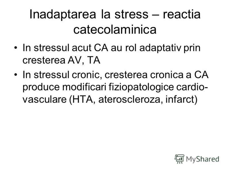 Inadaptarea la stress – reactia catecolaminica In stressul acut CA au rol adaptativ prin cresterea AV, TA In stressul cronic, cresterea cronica a CA produce modificari fiziopatologice cardio- vasculare (HTA, ateroscleroza, infarct)