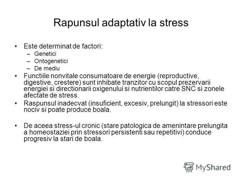 Rapunsul adaptativ la stress Este determinat de factori: –Genetici –Ontogenetici –De mediu Functiile nonvitale consumatoare de energie (reproductive, digestive, crestere) sunt inhibate tranzitor cu scopul prezervarii energiei si directionarii oxigenu