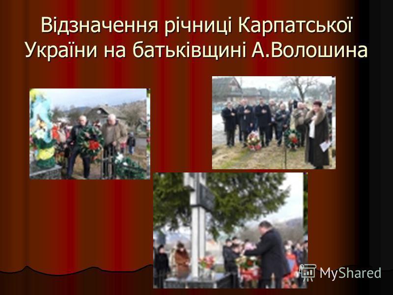 Відзначення річниці Карпатської України на батьківщині А.Волошина