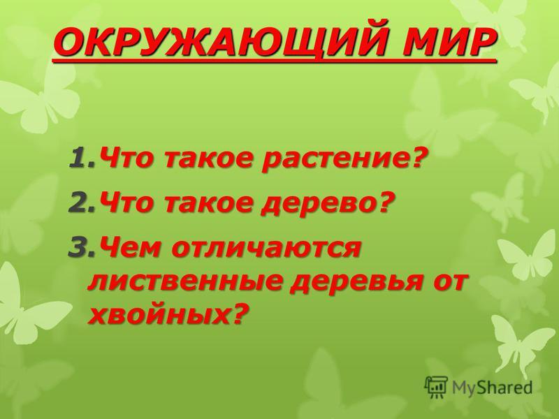 ОКРУЖАЮЩИЙ МИР 1. Что такое растение? 2. Что такое дерево? 3. Чем отличаются лиственные деревья от хвойных?