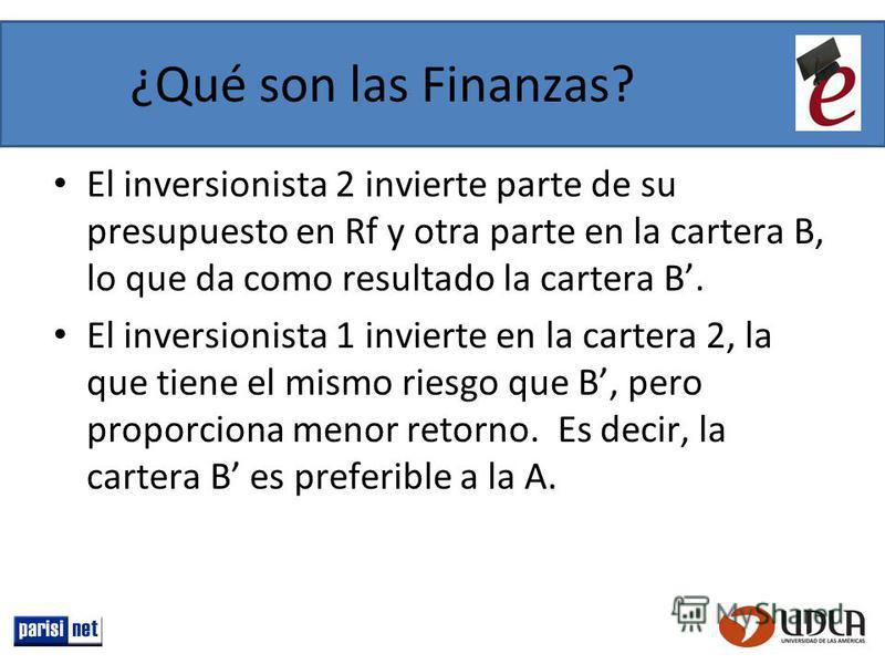 El inversionista 2 invierte parte de su presupuesto en Rf y otra parte en la cartera B, lo que da como resultado la cartera B. El inversionista 1 invierte en la cartera 2, la que tiene el mismo riesgo que B, pero proporciona menor retorno. Es decir,