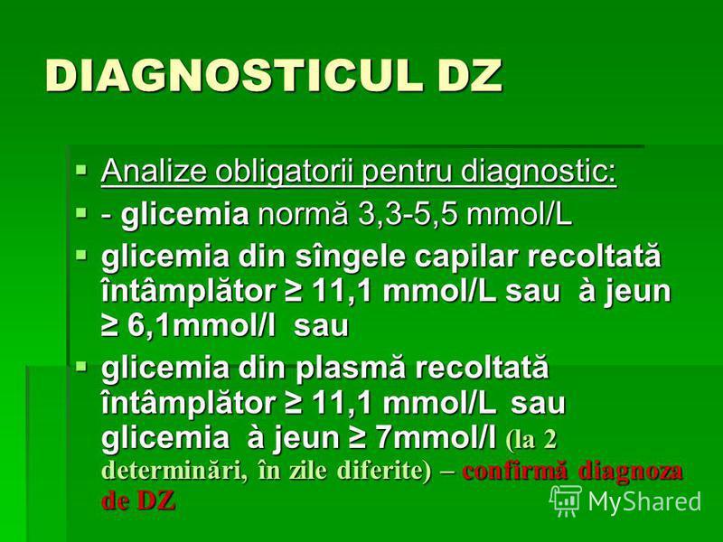 DIAGNOSTICUL DZ Analize obligatorii pentru diagnostic: Analize obligatorii pentru diagnostic: - glicemia normă 3,3-5,5 mmol/L - glicemia normă 3,3-5,5 mmol/L glicemia din sîngele capilar recoltată întâmplător 11,1 mmol/L sau à jeun 6,1mmol/l sau glic
