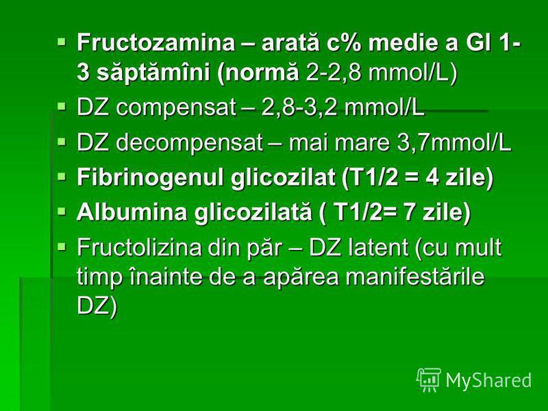 Fructozamina – arată c% medie a Gl 1- 3 săptămîni (normă 2-2,8 mmol/L) Fructozamina – arată c% medie a Gl 1- 3 săptămîni (normă 2-2,8 mmol/L) DZ compensat – 2,8-3,2 mmol/L DZ compensat – 2,8-3,2 mmol/L DZ decompensat – mai mare 3,7mmol/L DZ decompens