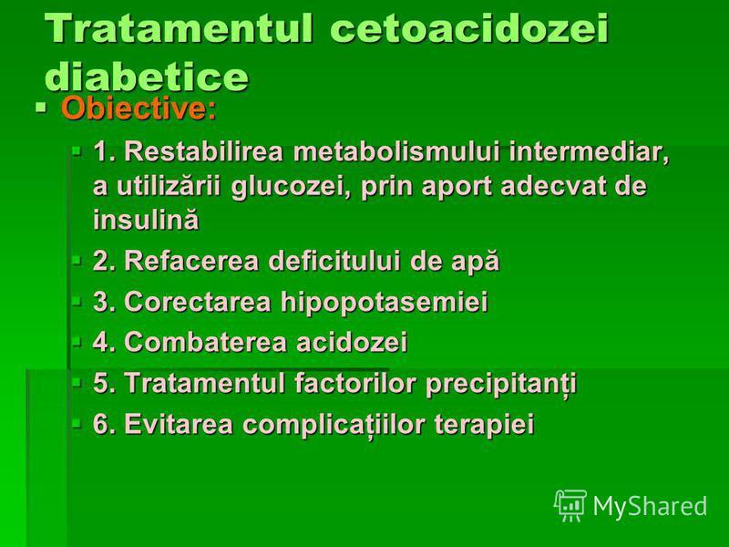 Tratamentul cetoacidozei diabetice Obiective: Obiective: 1. Restabilirea metabolismului intermediar, a utilizării glucozei, prin aport adecvat de insulină 1. Restabilirea metabolismului intermediar, a utilizării glucozei, prin aport adecvat de insuli