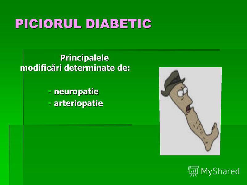 PICIORUL DIABETIC Principalele modificări determinate de: neuropatie neuropatie arteriopatie arteriopatie