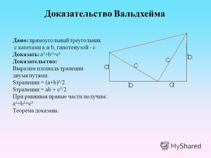 Доказательство Вальдхейма Дано: прямоугольный треугольник с катетами a и b, гипотенузой - c Доказать: a²+b²=c² Доказательство: Выразим площадь трапеции двумя путями. Sтрапеции = (a+b)²/2 Sтрапеции = ab + c²/2 При ревнивая правые части получим: a²+b²=
