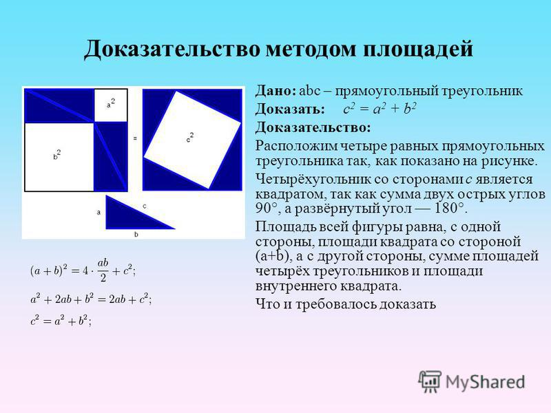 Доказательство методом площадей Дано: abc – прямоугольный треугольник Доказать: c 2 = a 2 + b 2 Доказательство: Расположим четыре равных прямоугольных треугольника так, как показано на рисунке. Четырёхугольник со сторонами c является квадратом, так к