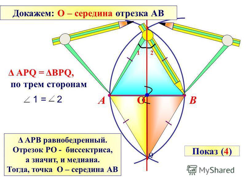 Q P ВА Δ АРQ = ΔBPQ, по трем сторонам 12 1 = 2 Δ АРВ равнобедренный. Отрезок РО - биссектриса, а значит, и медиана. Тогда, точка О – середина АВ О Показ (4) Докажем: О – середина отрезка АВ