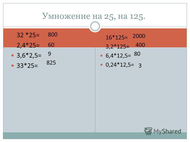32 *25= 2,4*25= 3,6*2,5= 33*25= 16*125= 3,2*125= 6,4*12,5= 0,24*12,5= Умножение на 25, на 125. 800 60 9 825 2000 400 80 3