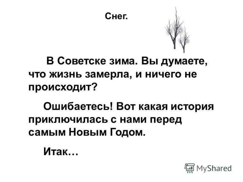 В Советске зима. Вы думаете, что жизнь замерла, и ничего не происходит? Ошибаетесь! Вот какая история приключилась с нами перед самым Новым Годом. Итак… Снег.