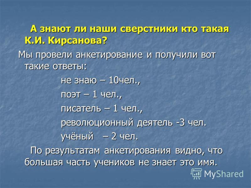А знают ли наши сверстники кто такая К.И. Кирсанова? А знают ли наши сверстники кто такая К.И. Кирсанова? Мы провели анкетирование и получили вот такие ответы: Мы провели анкетирование и получили вот такие ответы: не знаю – 10 чел., не знаю – 10 чел.