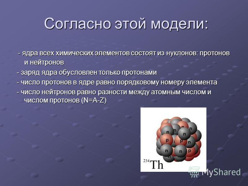 Согласно этой модели: Согласно этой модели: - ядра всех химических элементов состоят из нуклонов: протонов и нейтронов - ядра всех химических элементов состоят из нуклонов: протонов и нейтронов - заряд ядра обусловлен только протонами - заряд ядра об
