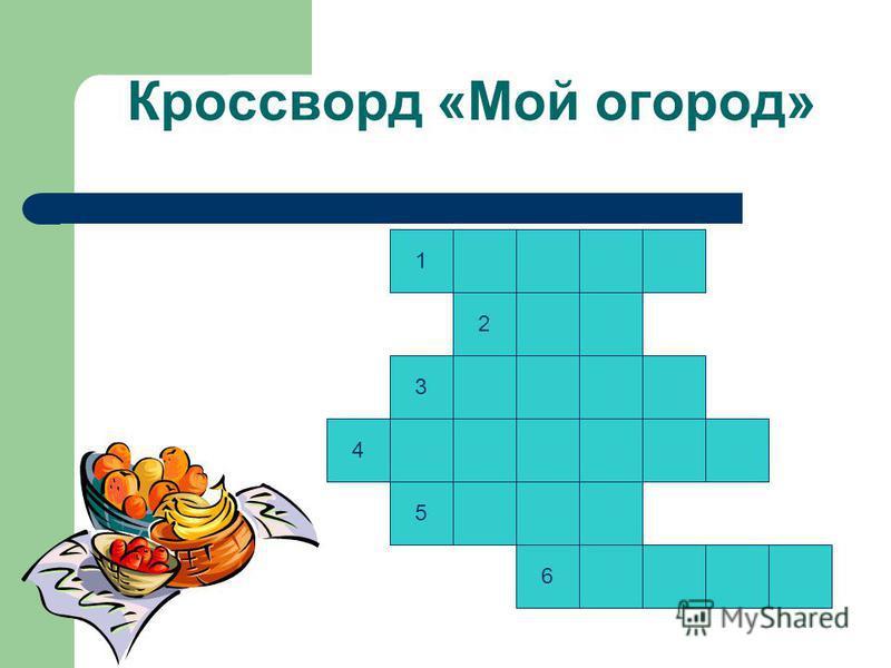 Кроссворд «Мой огород» 1 2 4 3 5 6