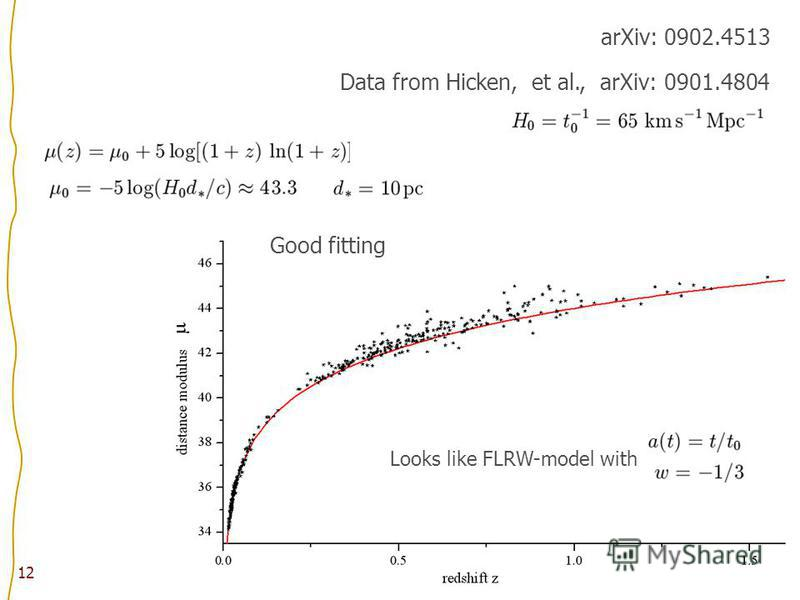 12 arXiv: 0902.4513 Data from Hicken, et al., arXiv: 0901.4804 Looks like FLRW-model with Good fitting