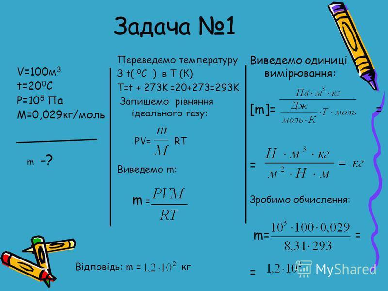 V=100м 3 t=20 0 C P=10 5 Па М=0,029кг/моль Переведемо температуру З t( 0 C ) в Т (К) T=t + 273K =20+273=293K Запишемо рівняння ідеального газу: PV= RT Виведемо m: m = m -? Виведемо одиниці вимірювання: [m]= = = Зробимо обчислення: m= = = Відповідь: m