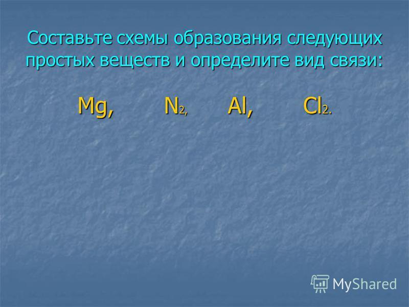 Составьте схемы образования следующих простых веществ и определите вид связи: Mg, N 2, Al, Cl 2.