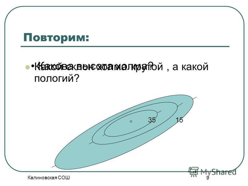 Калиновская СОШ 9 Повторим: Какой склон холма крутой, а какой пологий? 1535 Какова высота холма?