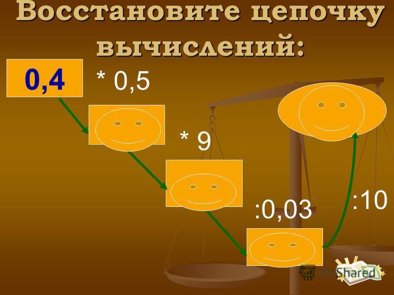 0,4 * 0,5 * 9 :0,03 :10 0,2 1,8 60 6 Восстановите цепочку вычислений: