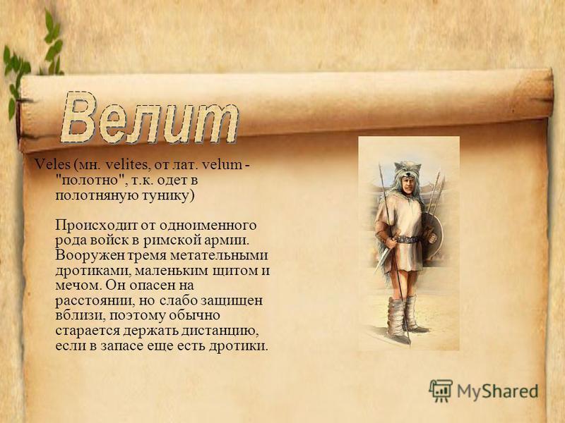 Veles (мн. velites, от лат. velum -