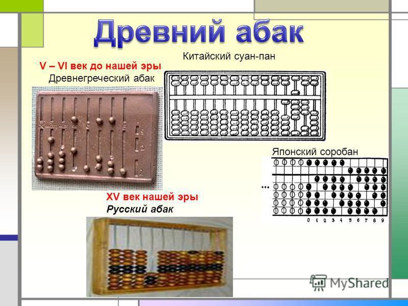 V – VI век до нашей эры Древнегреческий абак Китайский суан-пан Японский соробан XV век нашей эры Русский абак