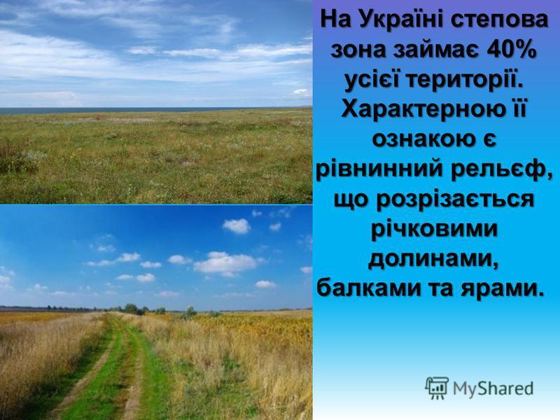 На Україні степова зона займає 40% усієї території. Характерною її ознакою є рівнинний рельєф, що розрізається річковими долинами, балками та ярами. На Україні степова зона займає 40% усієї території. Характерною її ознакою є рівнинний рельєф, що роз