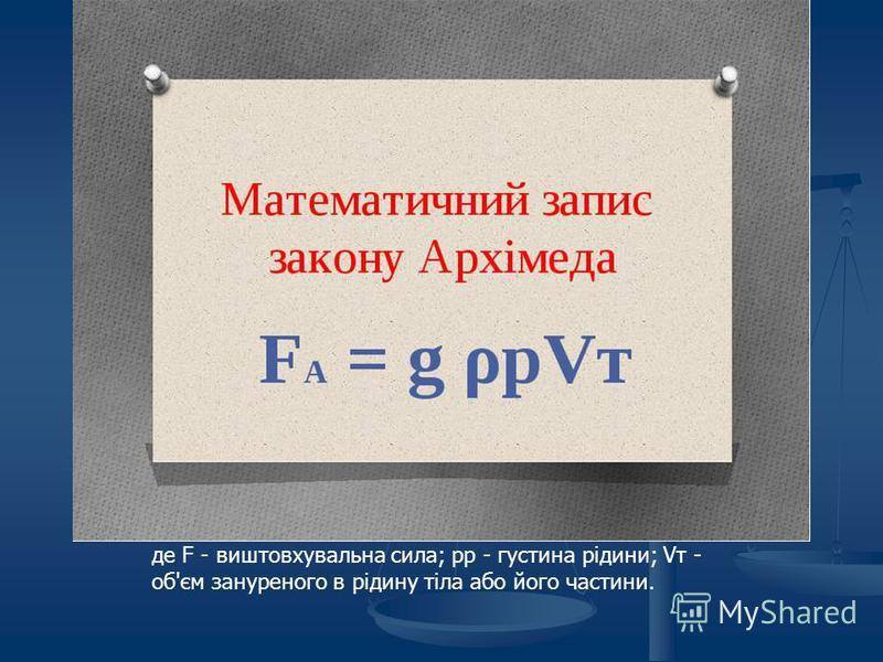 Згідно із законом Архімеда вага всякого тіла в повітрі менша за вагу його в пустоті на величину, рівну вазі витісненого повітря.