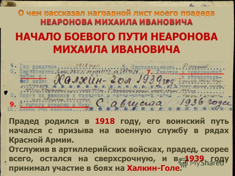 НАЧАЛО БОЕВОГО ПУТИ НЕАРОНОВА МИХАИЛА ИВАНОВИЧА 7. 9. Прадед родился в 1918 году, его воинский путь начался с призыва на военную службу в рядах Красной Армии. Отслужив в артиллерийских войсках, прадед, скорее всего, остался на сверхсрочную, и в 1939