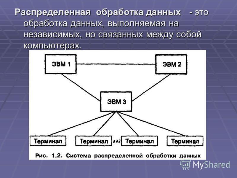 3 Распределенная обработка данных - это обработка данных, выполняемая на независимых, но связанных между собой компьютерах.