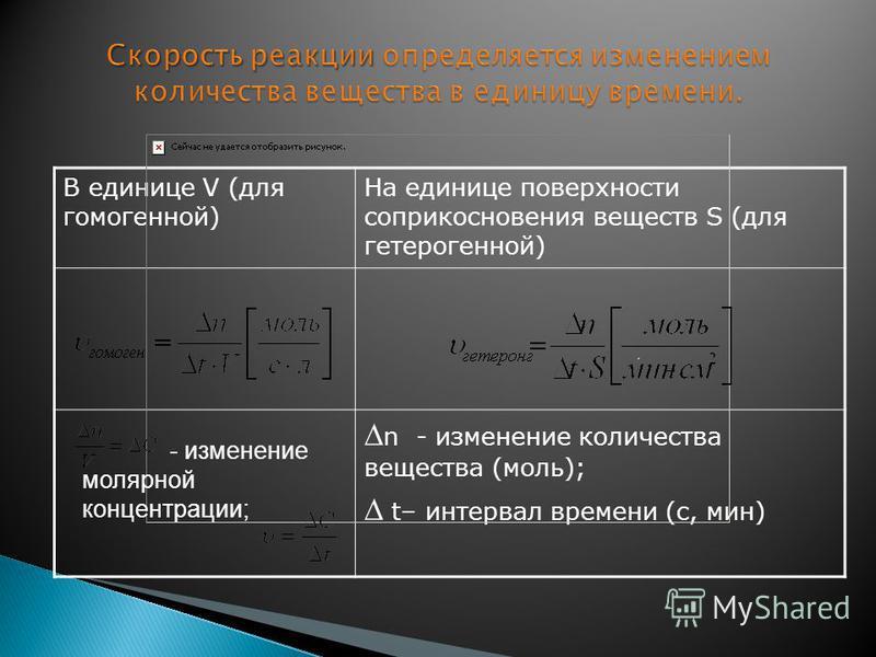 В единице V (для гомогенной) На единице поверхности соприкосновения веществ S (для гетерогенной) n - изменение количества вещества (моль); t– интервал времени (с, мин) - изменение молярной концентрации;