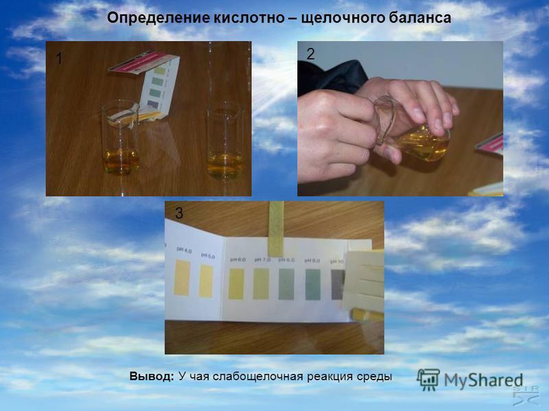 Определение кислотно – щелочного баланса Вывод: У чая слабощелочная реакция среды 1 2 3