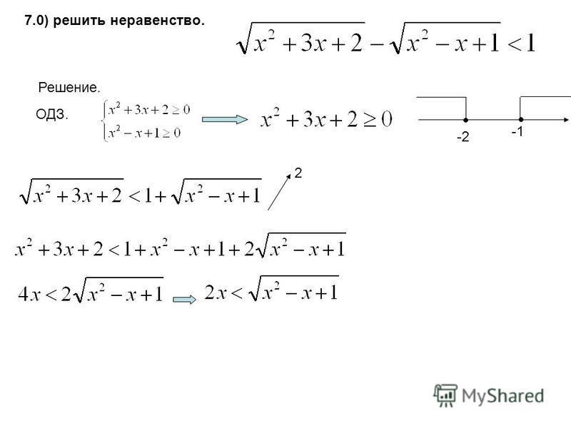 7.0) решить неравенство. Решение. ОДЗ. -2 2