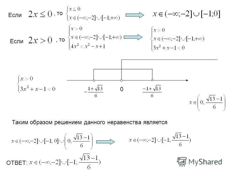 Если, то Если, то 0 Таким образом решением данного неравенства является ОТВЕТ: