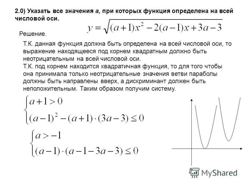 2.0) Указать все значения а, при которых функция определена на всей числовой оси. Решение. Т.К. данная функция должна быть определена на всей числовой оси, то выражение находящееся под корнем квадратным должно быть неотрицательным на всей числовой ос